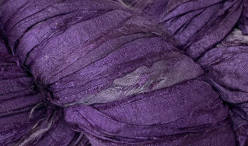 Recycled Sari Silk Ribbon - Eggplant
