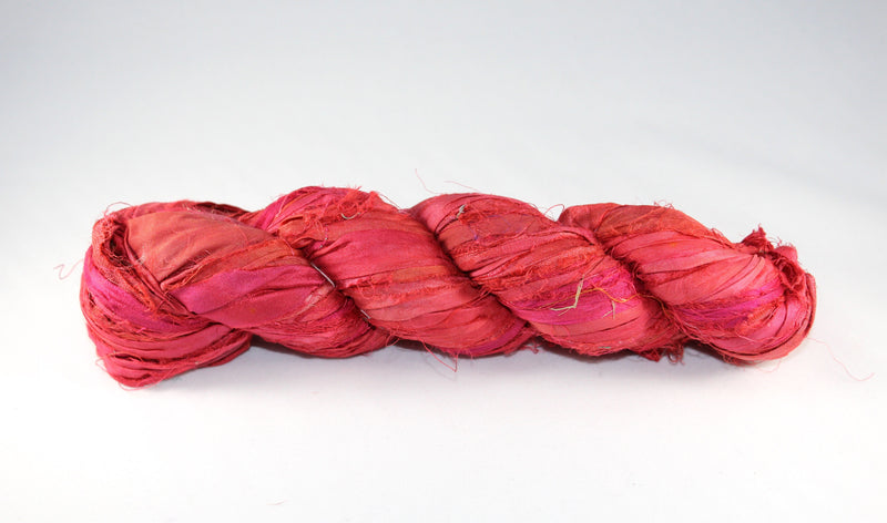 Recycled Sari Silk Ribbon - Red