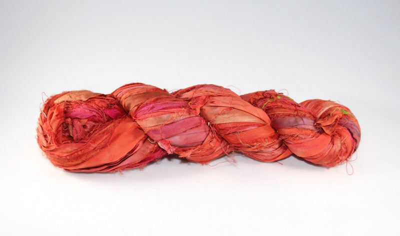 Recycled Sari Silk Ribbon - Brick Red