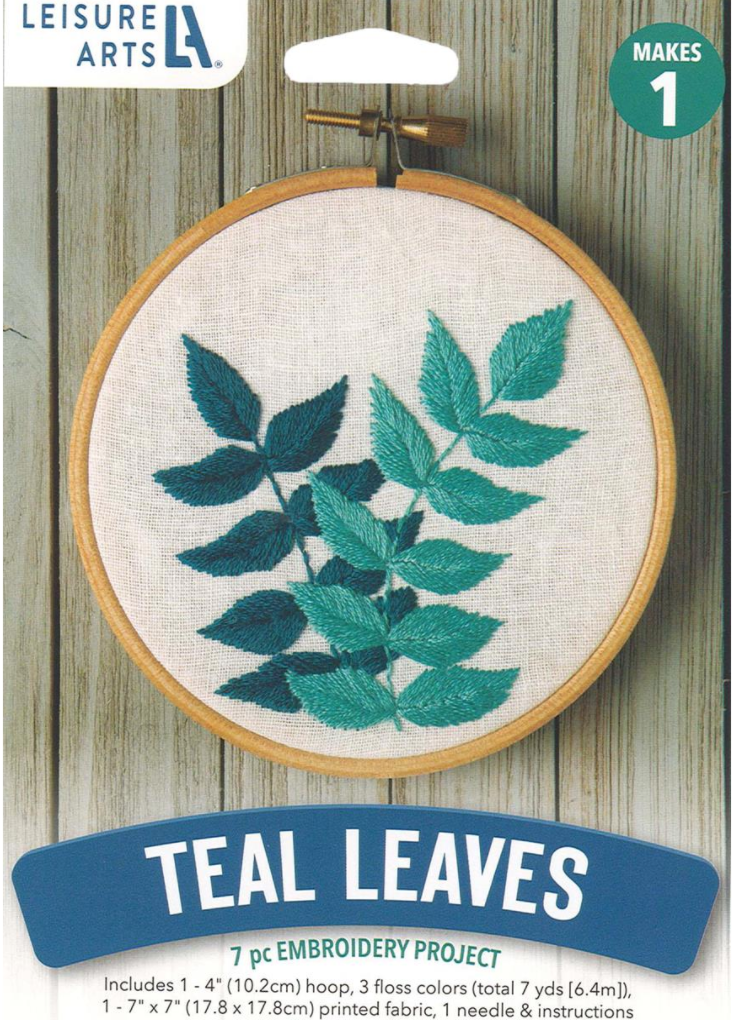 Leisure Arts Kit Mini Maker Embroidery Kit- Teal Leaves