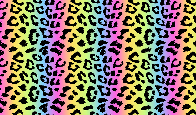 Leopard Print Rainbow Fade Pattern Heat Transfer Vinyl and Carrier Sheet