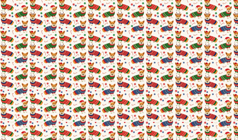 Corgie Christmas Pattern Heat Transfer Vinyl and Carrier Sheet