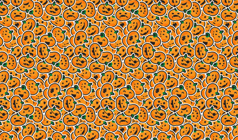 Halloween Jack O'Lantern Scatter Pattern Heat Transfer Vinyl and Carrier Sheet