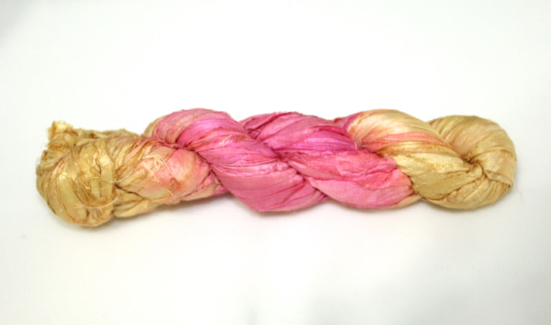 Recycled Sari Silk Ribbon - Pink Lemonade