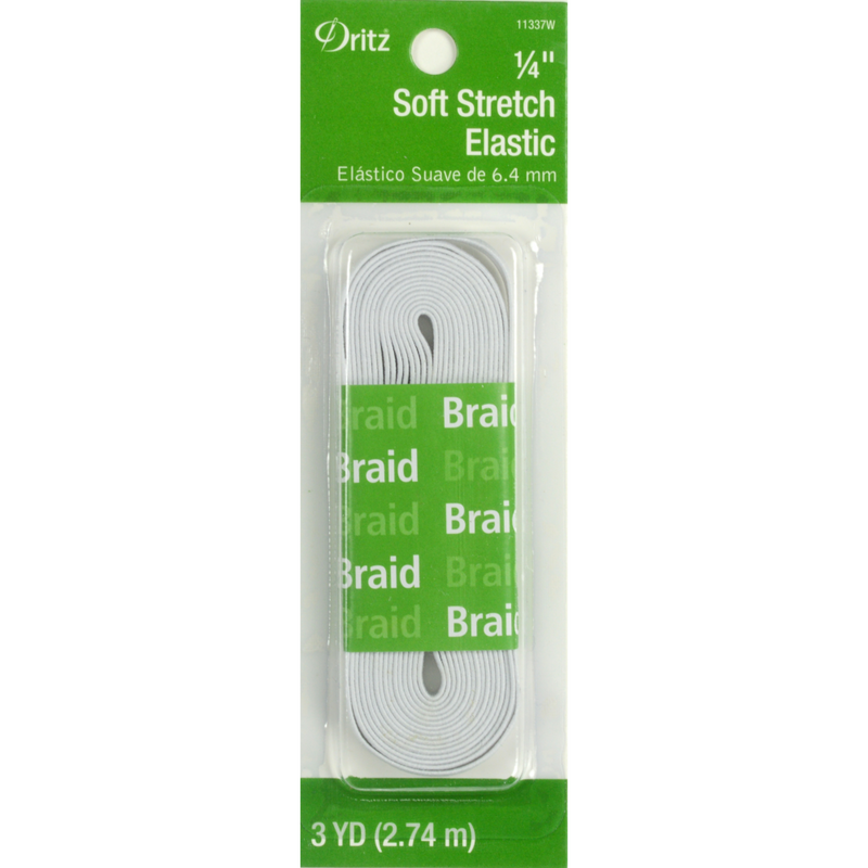 Dritz Soft Stretch Elastic for Face Masks - 1/4 Inch Flat Elastic