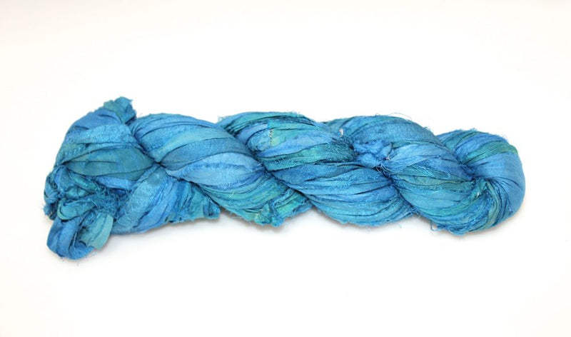 Recycled Sari Silk Ribbon - Indigo