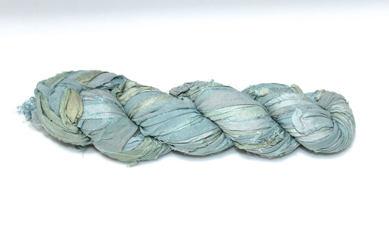 Recycled Sari Silk Ribbon - Soft Blue