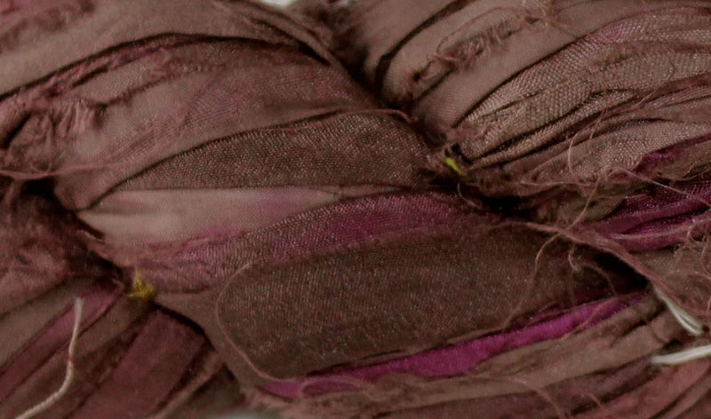Recycled Sari Silk Ribbon - Coffee