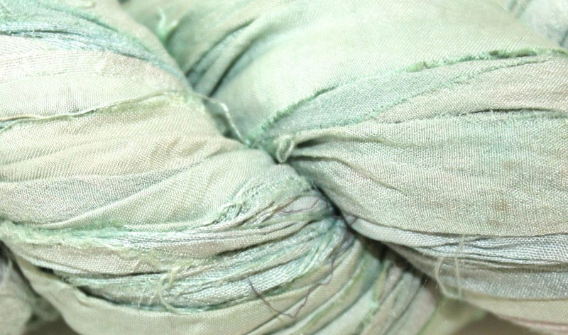 Recycled Sari Silk Ribbon - Ocean Green