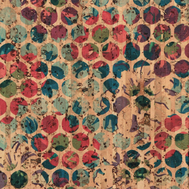 Sallie Tomato PRO Cork Fabric- Pro Gold Flecked Grunge Floral Dot - Eco-Friendly Vegan Faux Leather