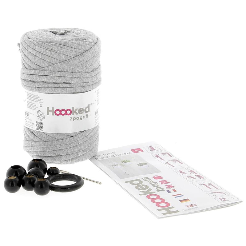 Hoooked Macrame Hanging Baskets Kit with Gray Zpagetti Yarn