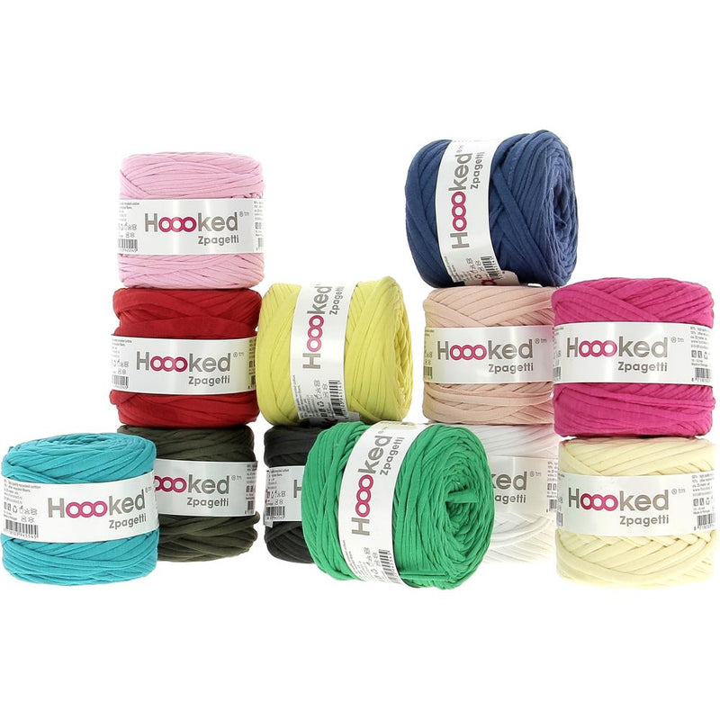Hoooked Baby Zpagetti Yarn Set - 12 Skeins of T-Shirt Yarn- Assorted Colors