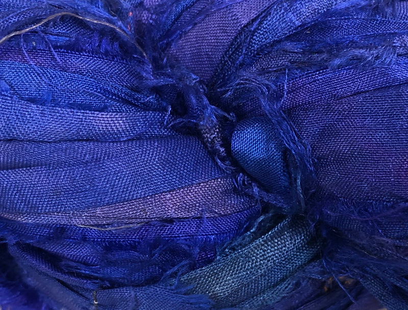 Recycled Sari Silk Ribbon - Berry Blue