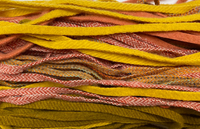 100 Assorted Yellow and Orange #8 Wool Strips for Rug Hooking