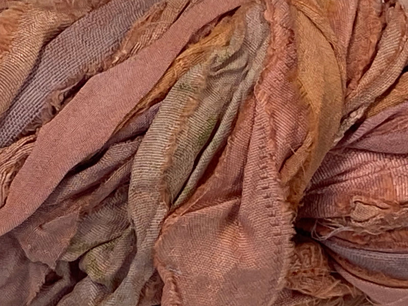 Recycled Sari Silk Ribbon - Just Peachy