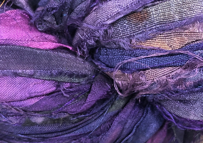 Recycled Sari Silk Ribbon - Orchid