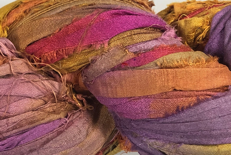 Recycled Sari Silk Ribbon - Masquerade