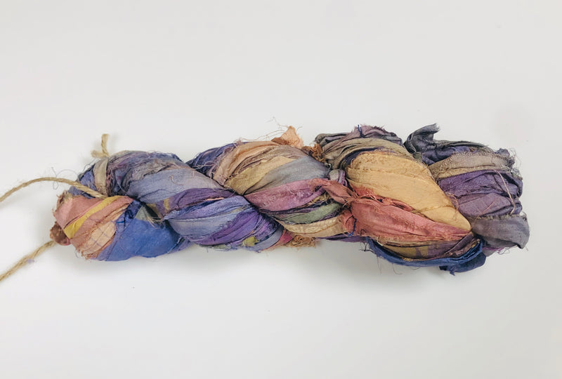 Recycled Sari Silk Ribbon - Thistle