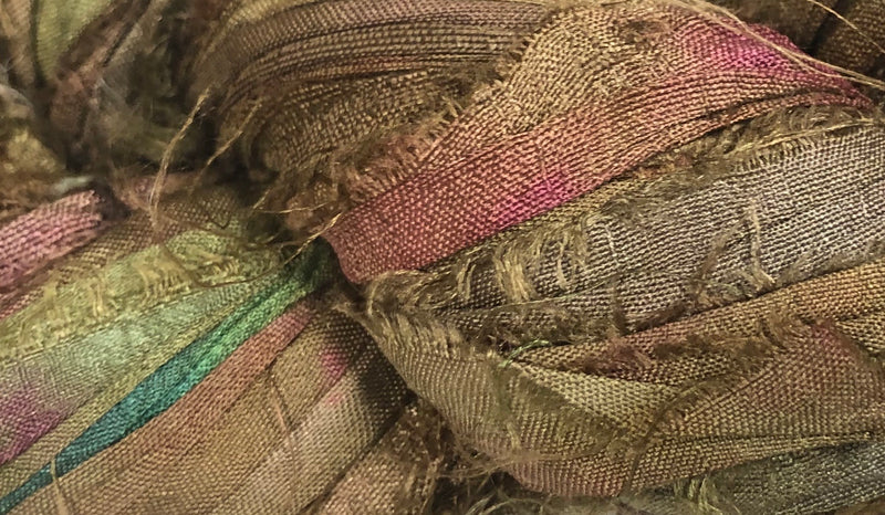 Recycled Sari Silk Ribbon - Olive Green