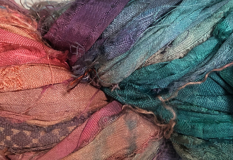 Recycled Sari Silk Ribbon - Bahama Blush