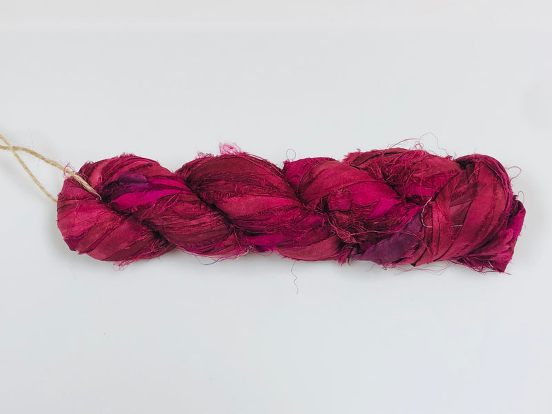 Recycled Sari Silk Ribbon - Fuchsia