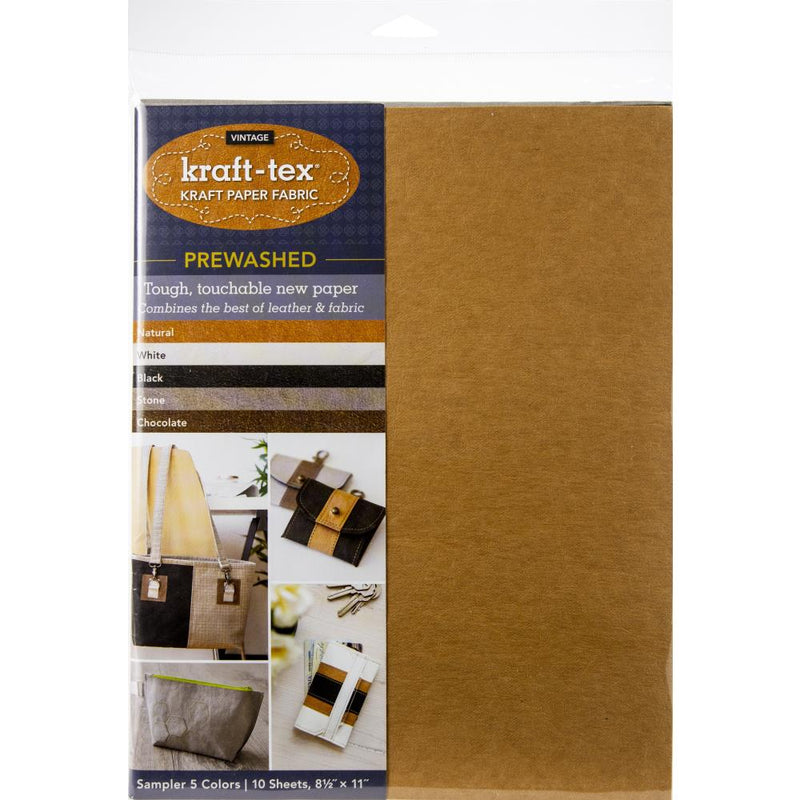 kraft-tex Kraft Paper Fabric - Prewashed  - 5 Vingtage Color Sampler Pack - 8.5 in X 11 in
