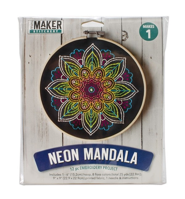 Leisure Arts Kit Mini Maker Embroidery Neon Mandala