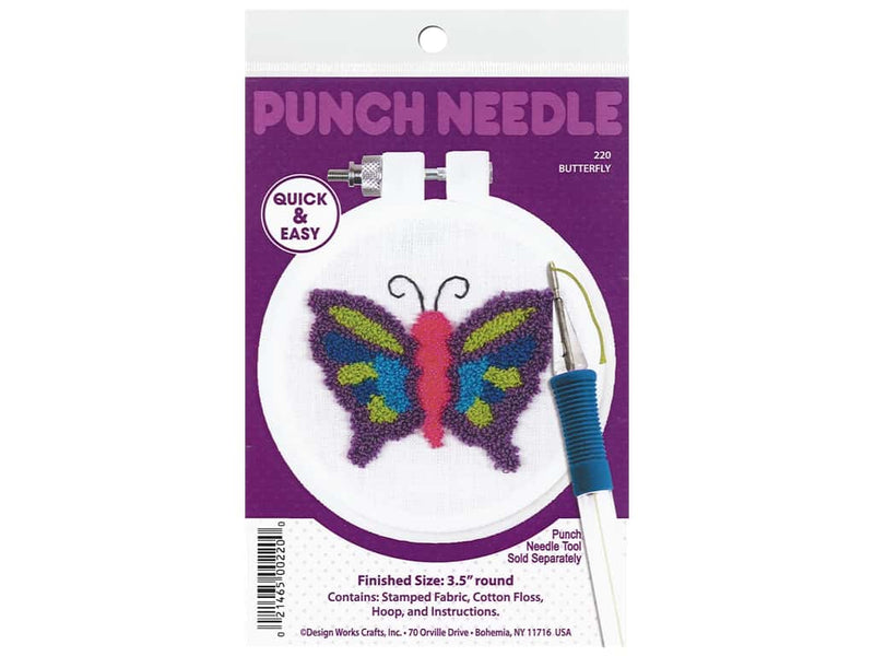 "Design Works Punch Needle Kit 3.5"" Round- Butterfly"