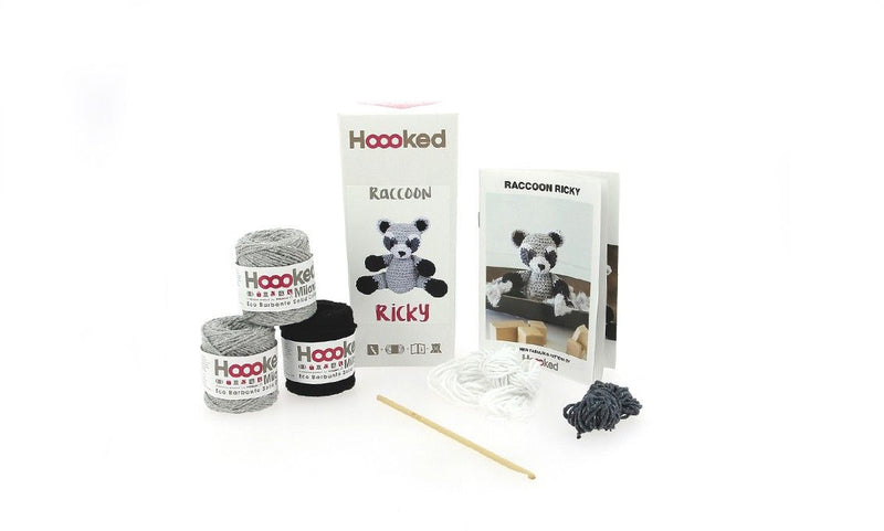 Raccoon Ricky Hoooked Yarn Kit with Eco Barbante Yarn