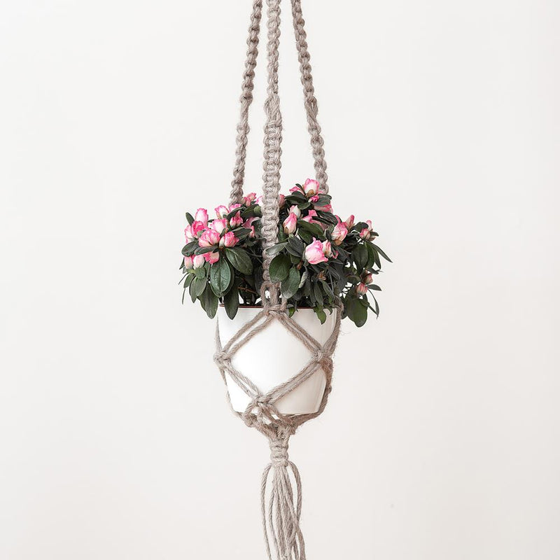 Hoooked Macrame Hanging Basket Kit with Natural Jute Yarn - Cinnamon Taupe