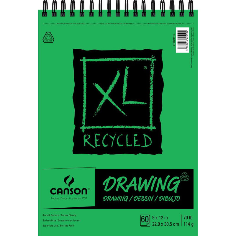 "Canson XL Recycled Spiral Drawing Paper Pad 9""X12"""