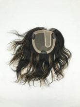 Mono Top Human Hair Piece, 13.5x12.5cm Area, 30cm Long, Darkest Brown with Highlight