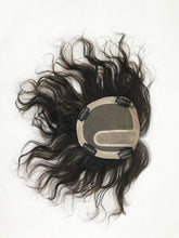 Mono Top Human Hair Piece, 13.5x12.5cm Area, 25cm Long, Darkest Brown with Highlight
