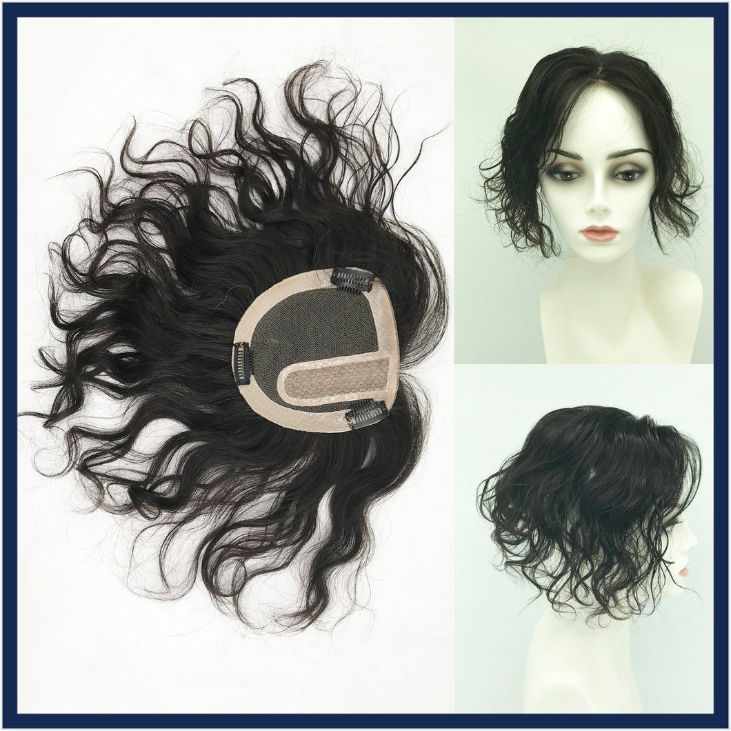 Mono Top Human Hair Piece, 13.5x12.5cm Area, 30cm Long, Darkest Brown