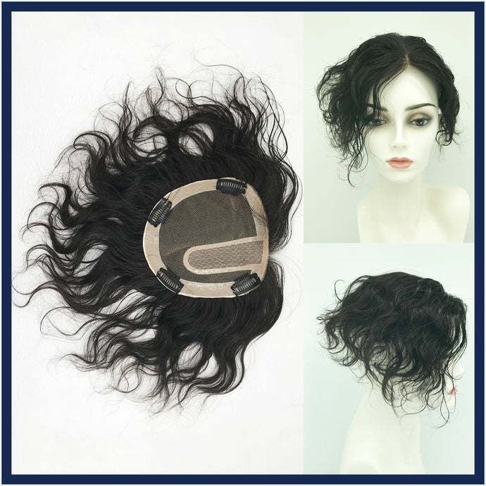 Mono Top Human Hair Piece, 13.5x12.5cm Area, 25cm Long, Darkest Brown