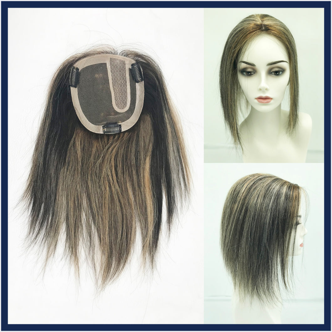 Mono Top Human Hair Piece, 13.5x12.5cm Area, 30cm Long, Foil Blonde
