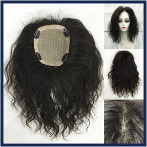 Mono Top Human Hair Piece, Wave, 16x14cm Area, 35cm Long