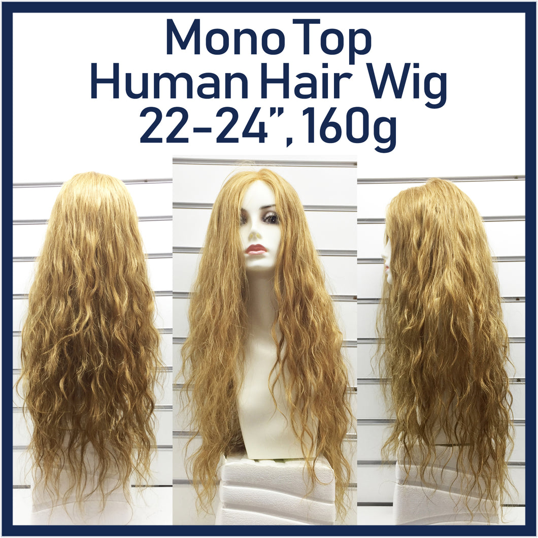 Mono Top Human Hair Wig Blonde, Natural Wave, 22