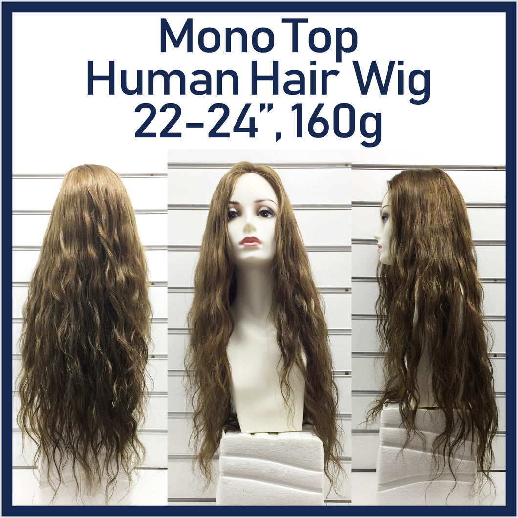 Mono Top Human Hair Wig Brown, Natural Wave, 22
