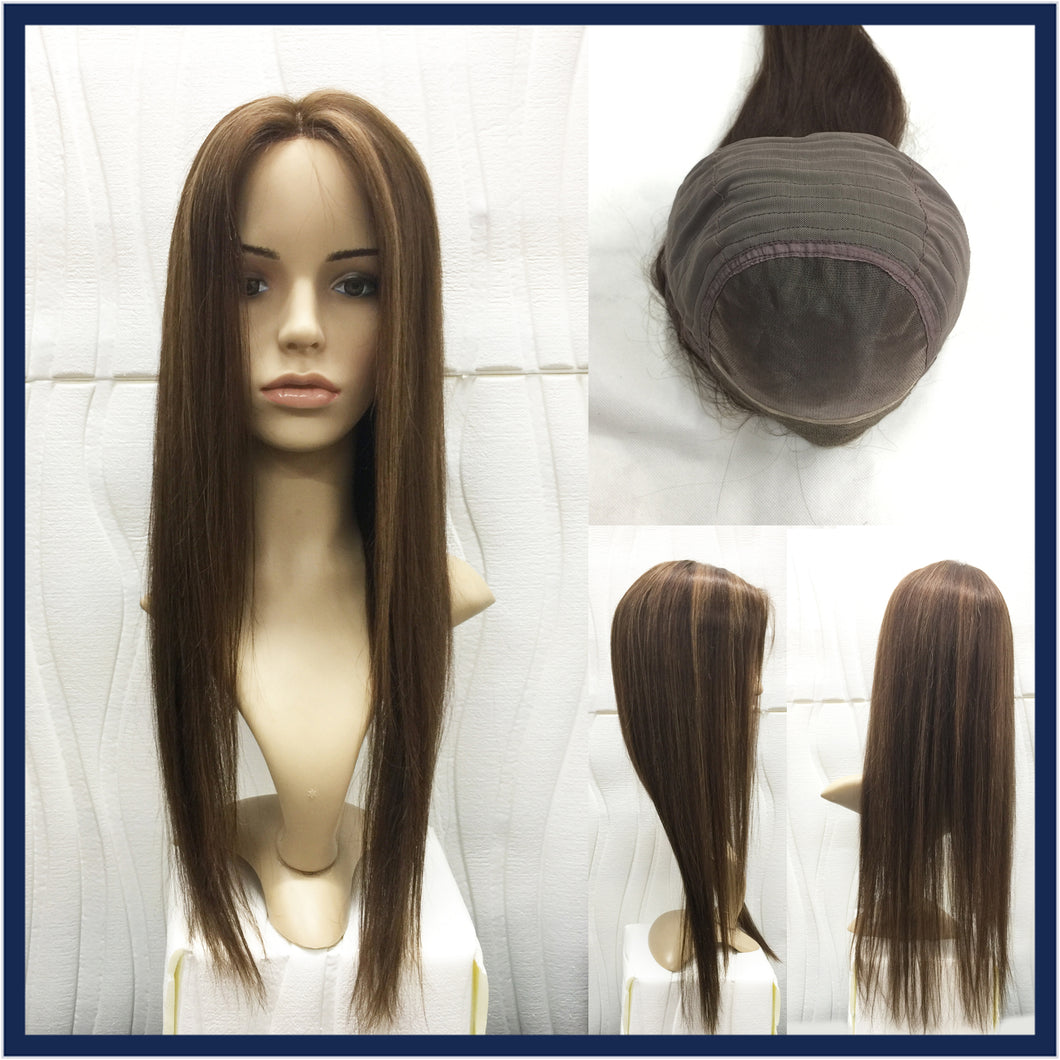 Mono Top Human Hair Wig Brown mix Blonde, Straight, 22