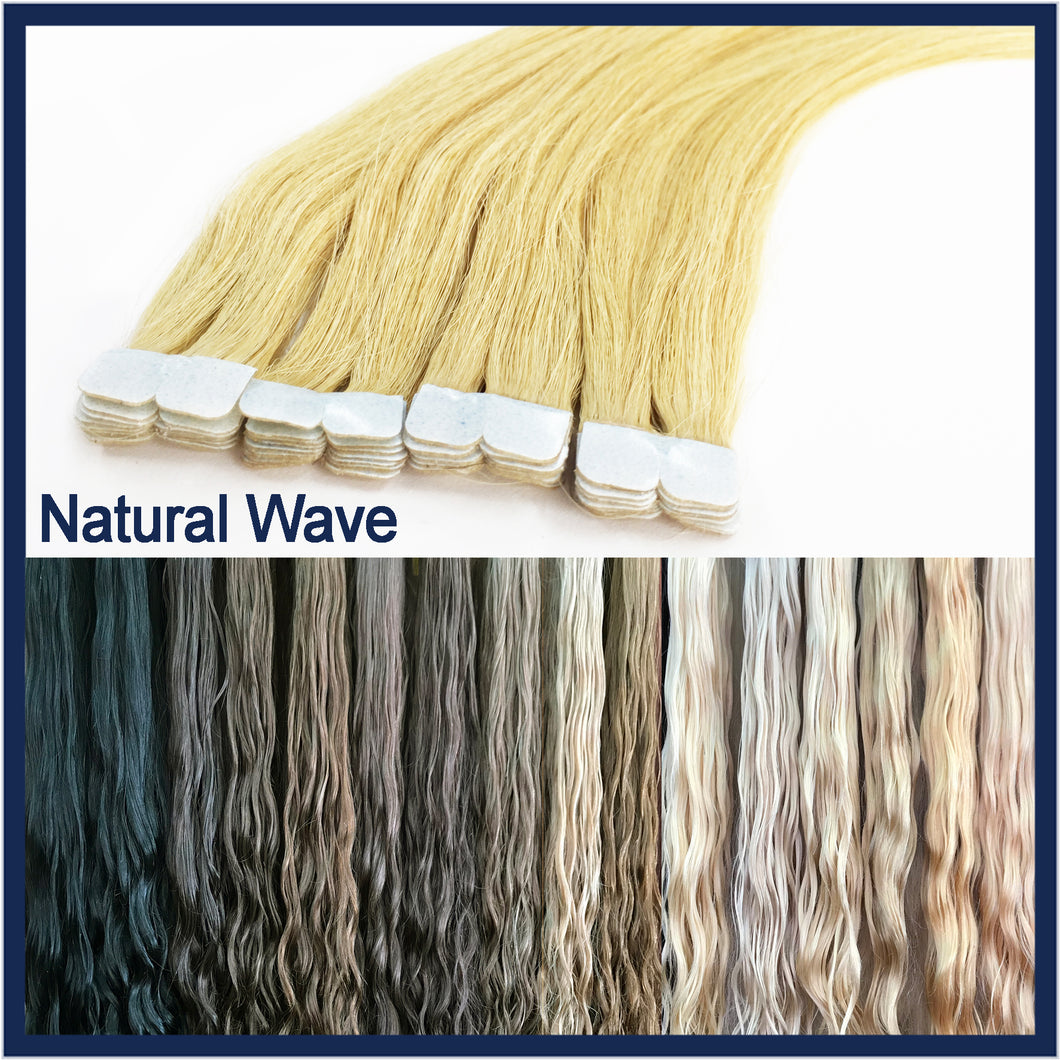 Micro Tape Human Hair Extensions Natural Wave, 20