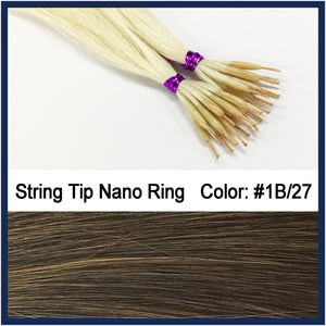 "String Tip Nano Ring Human Hair Extensions, 22"", 100 strands, #1B/27"