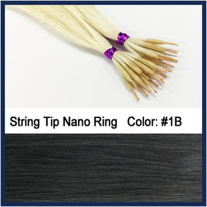 "String Tip Nano Ring Human Hair Extensions, 22"", 100 strands, #1B"