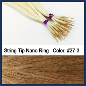 "String Tip Nano Ring Human Hair Extensions, 22"", 100 strands, #27-3"