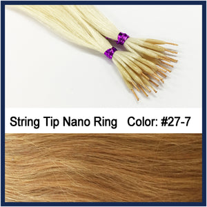 "String Tip Nano Ring Human Hair Extensions, 22"", 100 strands, #27-7"