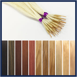 "String Tip Nano Ring Human Hair Extensions, 24"", 100 strands"