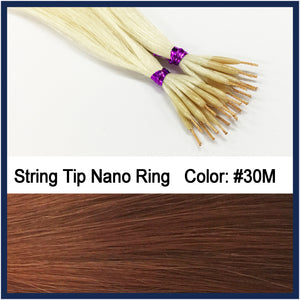 "String Tip Nano Ring Human Hair Extensions, 22"", 100 strands, #30M"