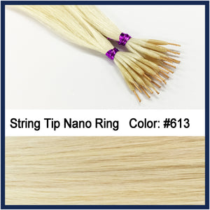 "String Tip Nano Ring Human Hair Extensions, 22"", 100 strands, #613"