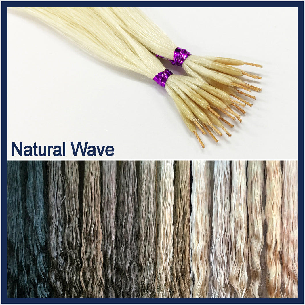 String Tip Nano Ring Human Hair Extensions Natural Wave, 20
