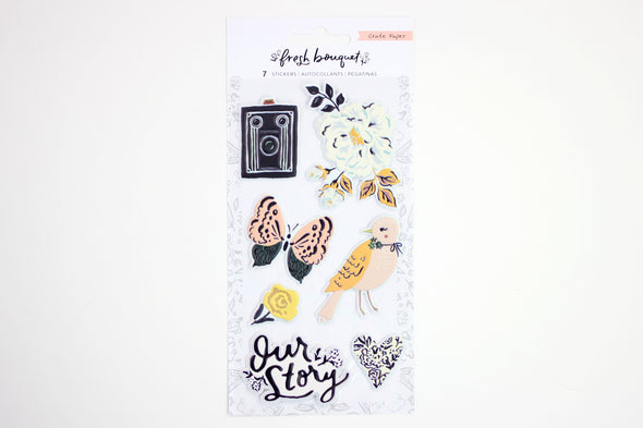 Crate Paper Fresh Bouquet Embossed Puffy Stickers